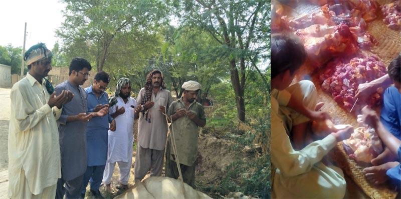 تونسہ شریف (ڈیرہ غازیخان): منہاج ویلفیئر فاؤنڈیشن کے زیراہتمام اجتماعی قربانی، مستحقین میں گوشت کی تقسیم