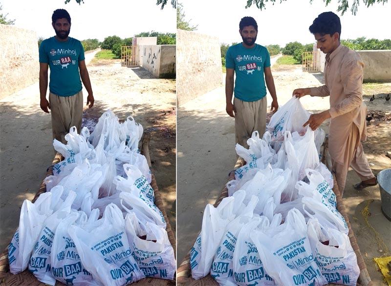 چوک اعظم (لیہ): منہاج ویلفیئر فاؤنڈیشن کے زیراہتمام اجتماعی قربانی، مستحقین میں گوشت کی تقسیم