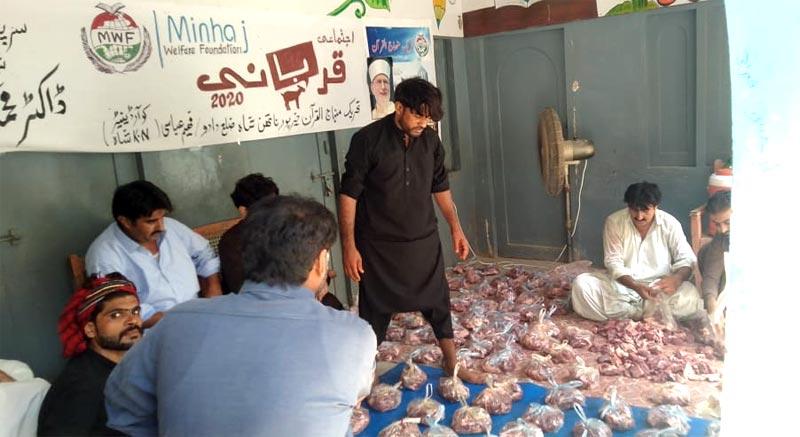 لوئر سندھ: منہاج ویلفیئر فاؤنڈیشن کے زیراہتمام اجتماعی قربانی، مستحقین میں گوشت کی تقسیم