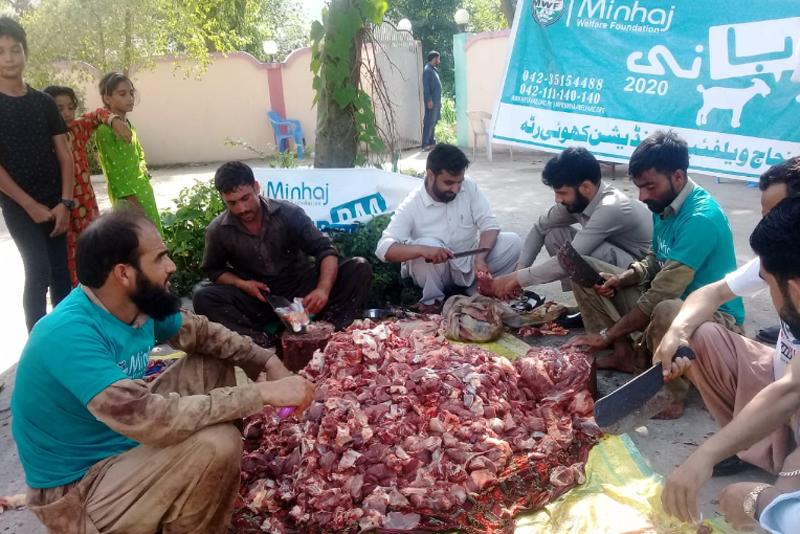 آزاد کشمیر: منہاج ویلفیئر فاؤنڈیشن کھوئی رٹہ کے زیر اہتمام اجتماعی قربانی اور  مستحقین میں گوشت کی تقسیم