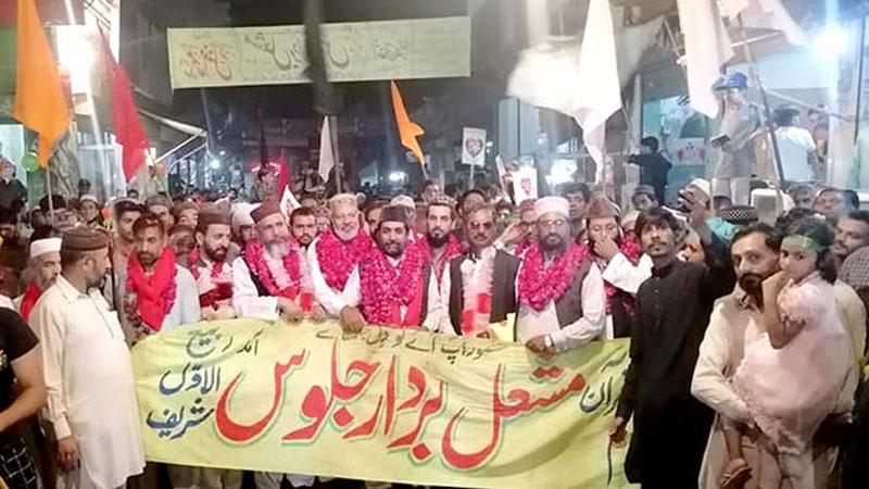 منہاج القرآن لاہور کے زیراہتمام استقبال ربیع الاول کا سالانہ مشعل بردار جلوس