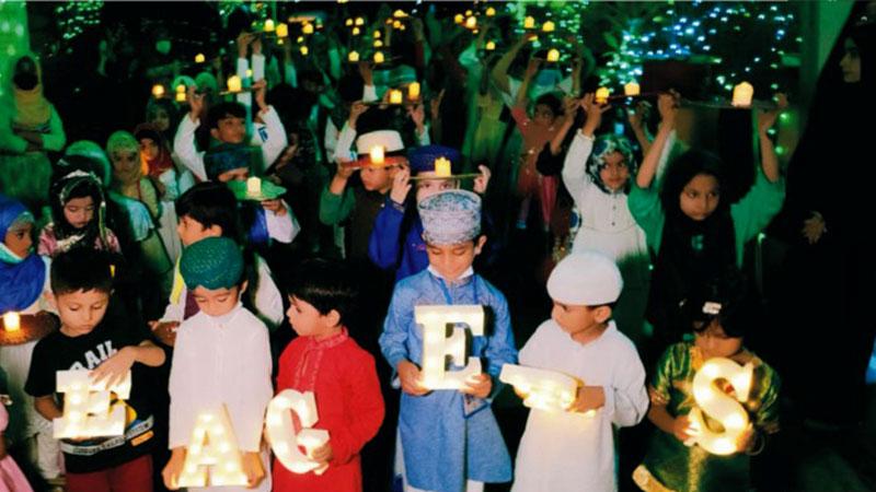 ایگرز کے زیراہتمام بچوں کی ضیافت میلاد اور ''میلاد کینڈل واک''