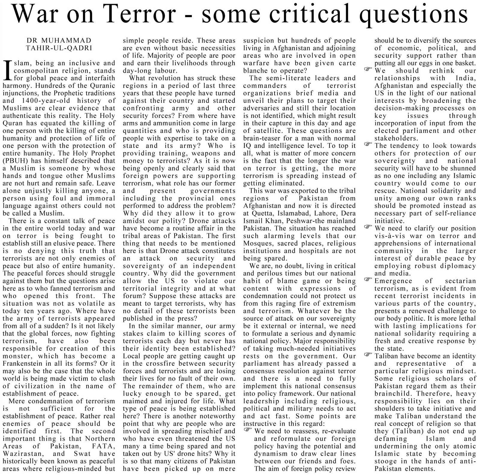 Minhaj-ul-Quran  Print Media CoverageDaily Asia Editorial Page