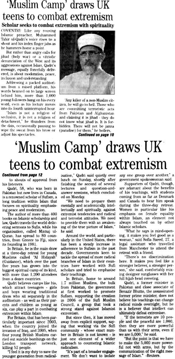 Minhaj-ul-Quran  Print Media Coverage Daily Jang London