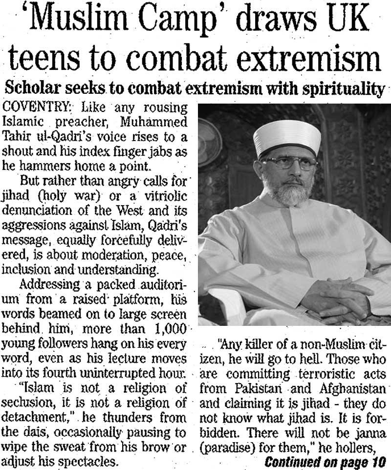 تحریک منہاج القرآن Minhaj-ul-Quran  Print Media Coverage پرنٹ میڈیا کوریج Daily The News London