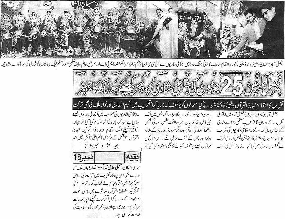 Minhaj-ul-Quran  Print Media CoverageDaily Waqif  Faisalabad
