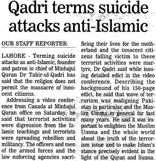 Minhaj-ul-Quran  Print Media CoverageDaily Nation Page: 14