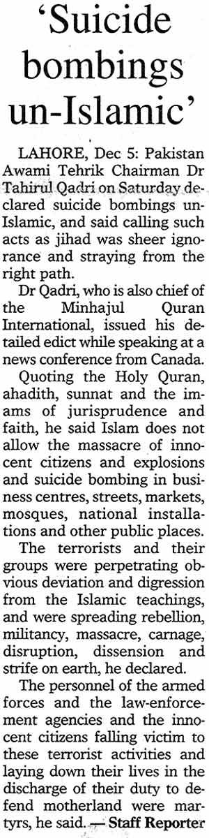 Minhaj-ul-Quran  Print Media CoverageDaily Dawn Page: 13