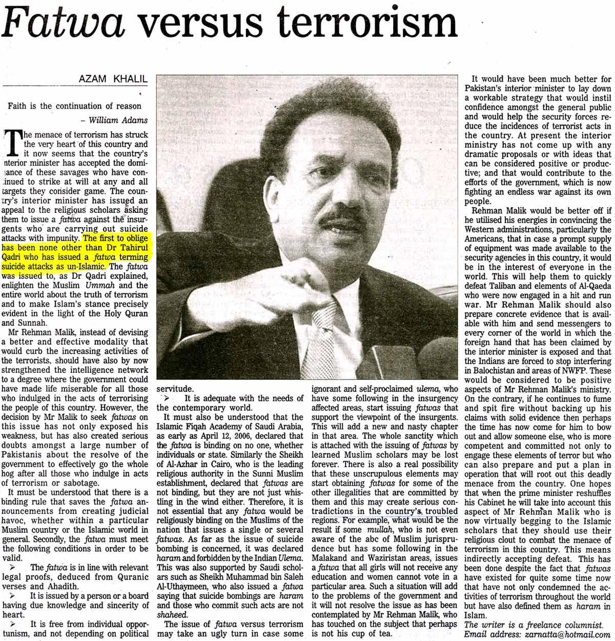 Minhaj-ul-Quran  Print Media CoverageDaily Nation
