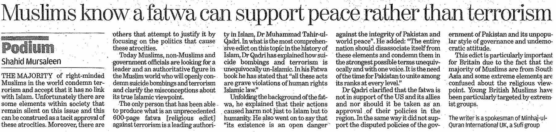 Minhaj-ul-Quran  Print Media CoverageDaily Indepandent Online