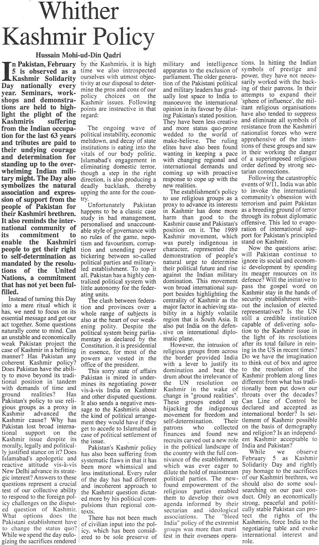 Minhaj-ul-Quran  Print Media CoverageThe Frontier Post Page: 6