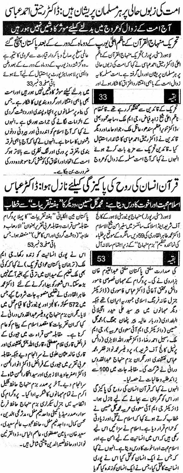 Minhaj-ul-Quran  Print Media CoverageDaily Musahrat Back Page