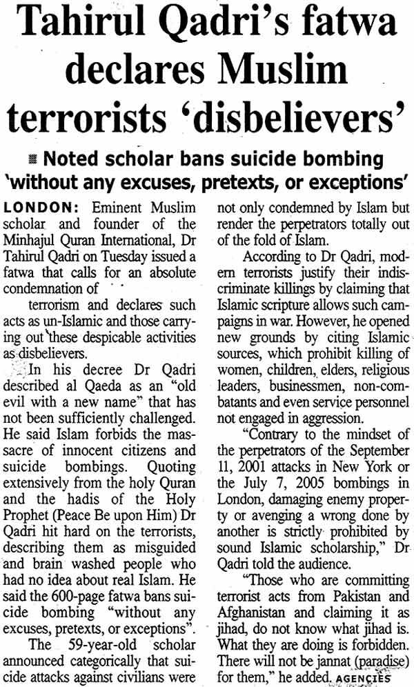 Minhaj-ul-Quran  Print Media CoverageDaily The Times Page: A2