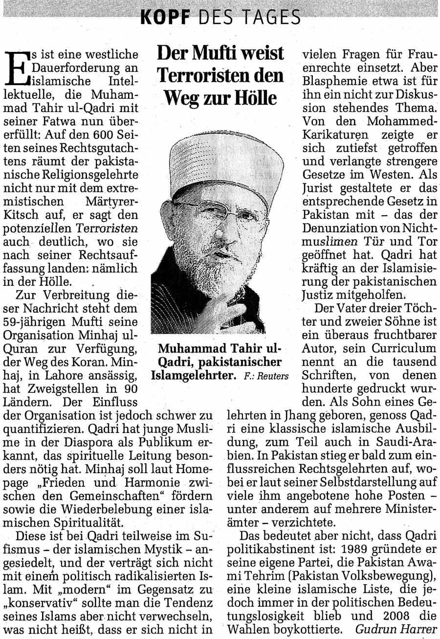 Minhaj-ul-Quran  Print Media CoverageDer Standard Austria