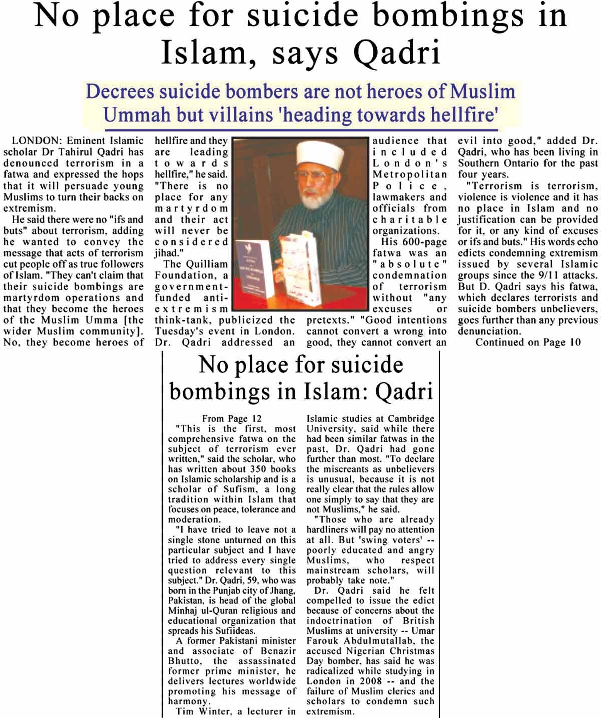 Minhaj-ul-Quran  Print Media CoverageDaily Asia