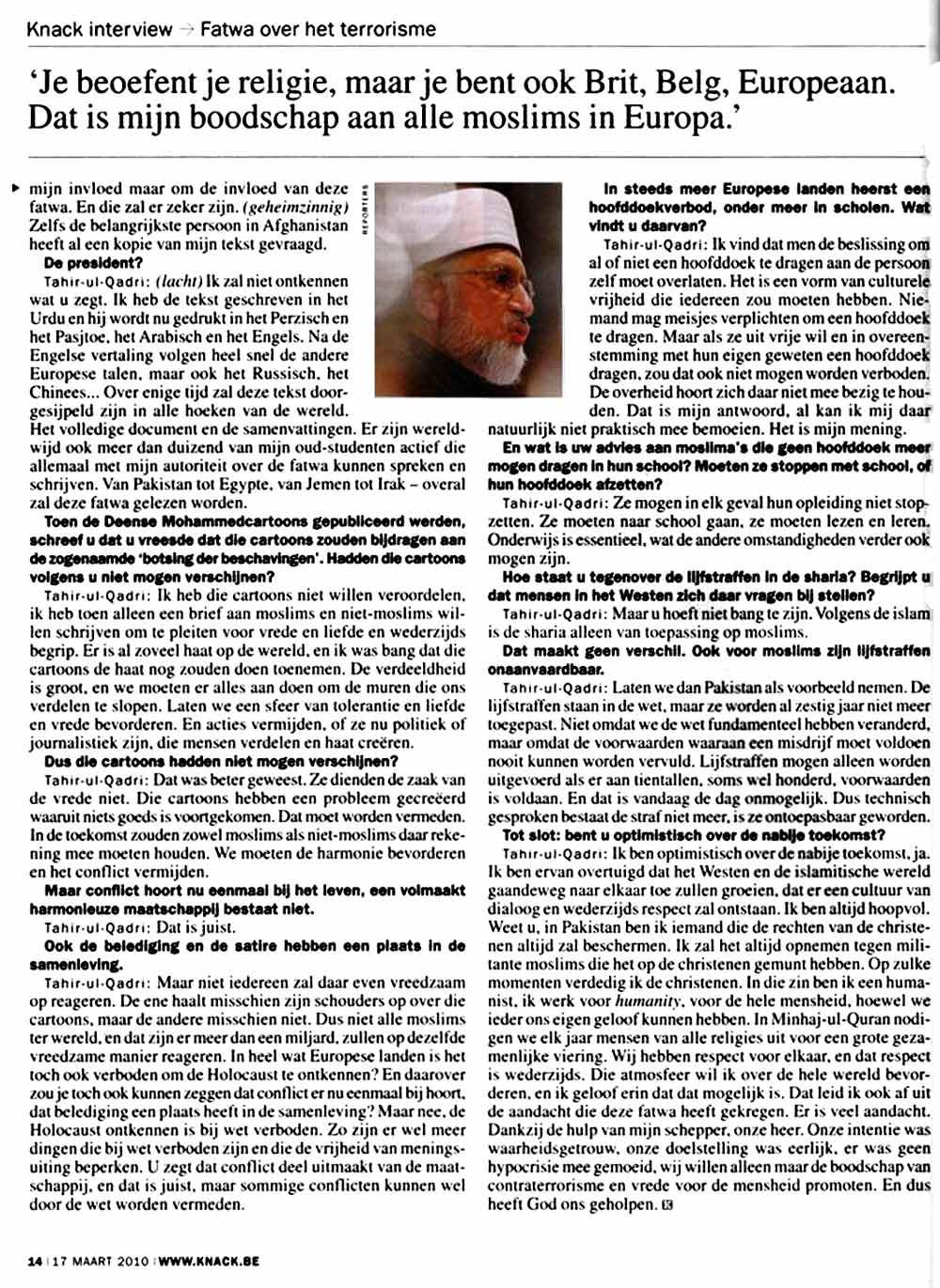 Minhaj-ul-Quran  Print Media CoverageThe Knack Beljium Page: 14