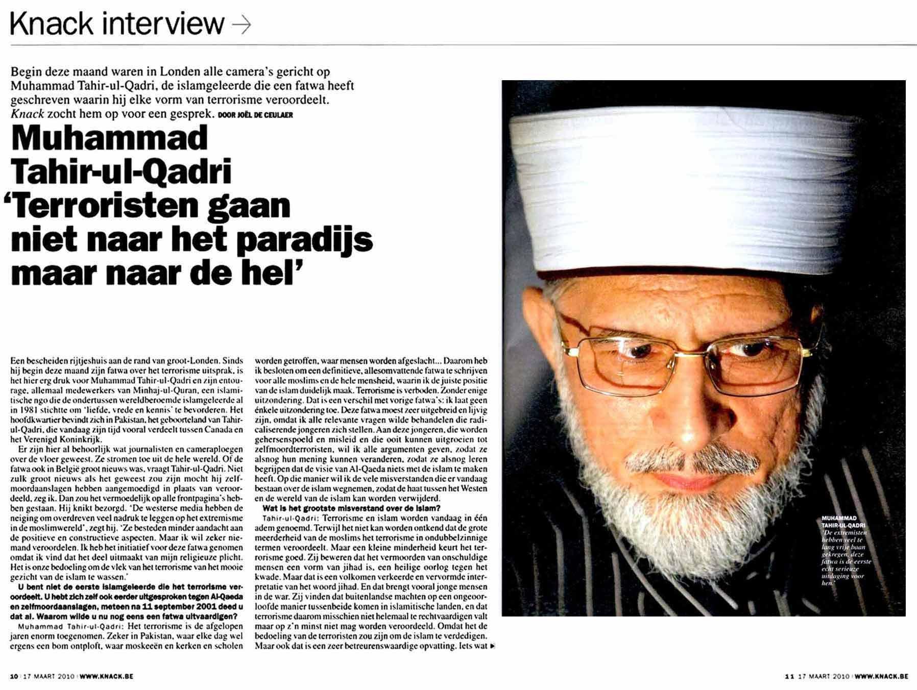 Minhaj-ul-Quran  Print Media CoverageThe Knack Beljium Page: 10, 11