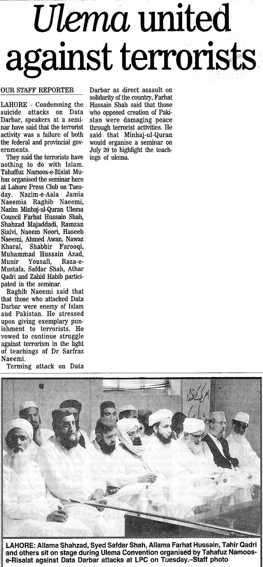 Minhaj-ul-Quran  Print Media CoverageDaily Nation Page 15
