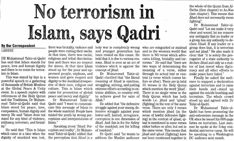 Minhaj-ul-Quran  Print Media CoverageDaily The News page 15