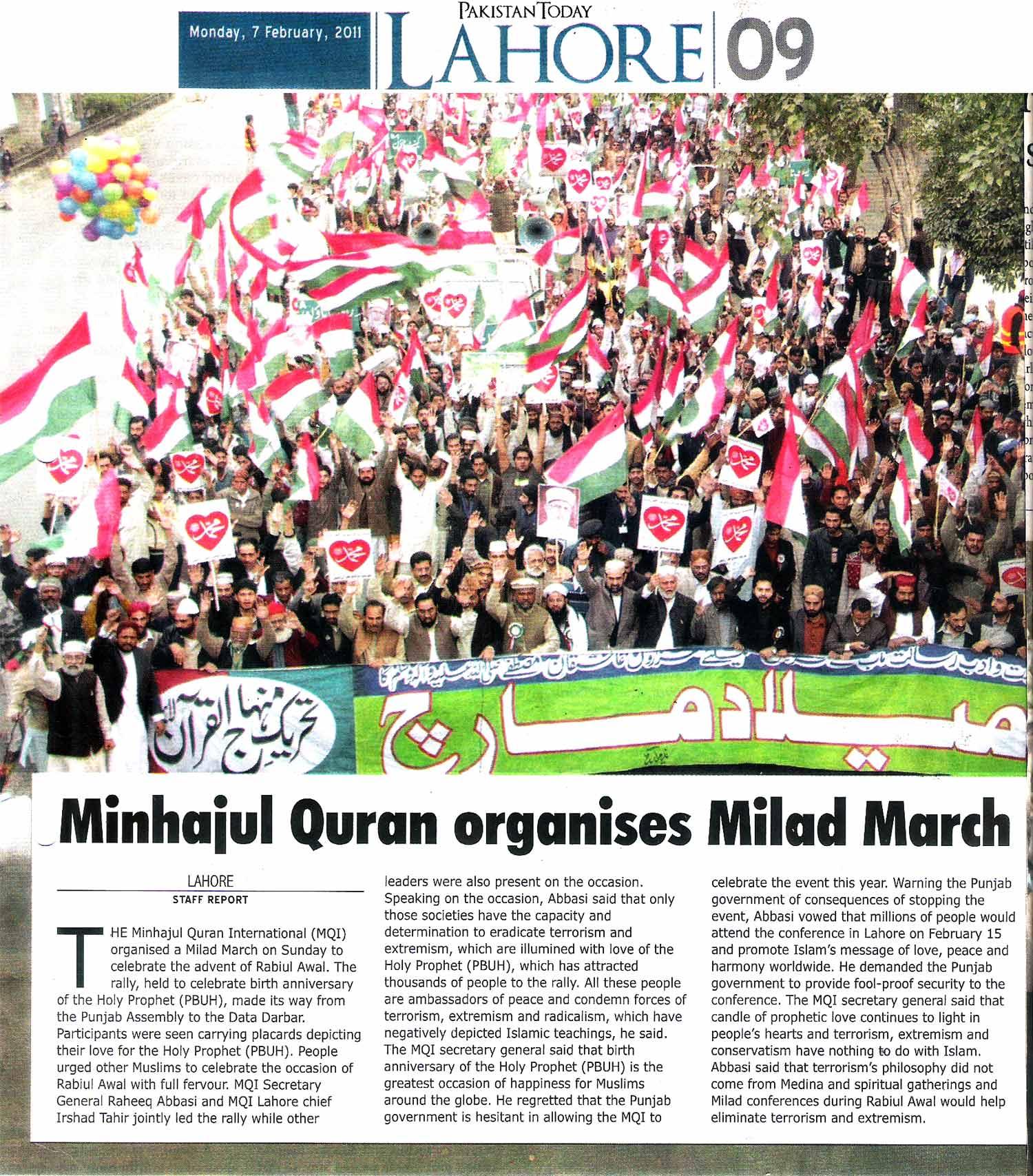 Minhaj-ul-Quran  Print Media CoverageDaily-Pakistan-To-Day-Page-9