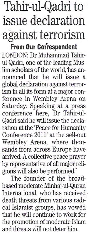 Minhaj-ul-Quran  Print Media CoverageDaily The News.Page.11