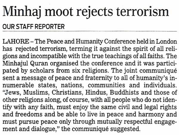 Minhaj-ul-Quran  Print Media CoverageThe Nation Lahore