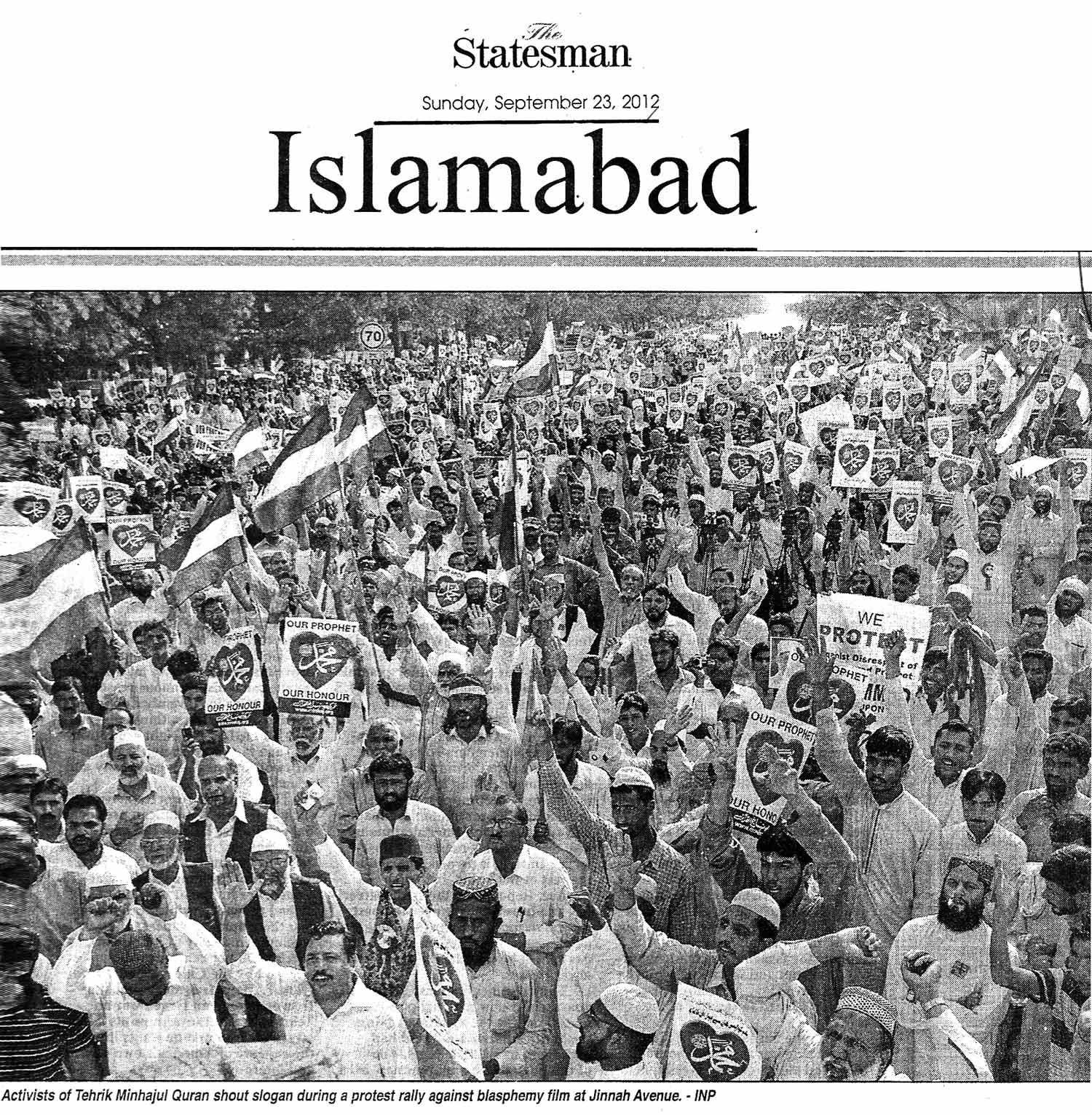 Minhaj-ul-Quran  Print Media CoverageDaily The Statesman Page 1