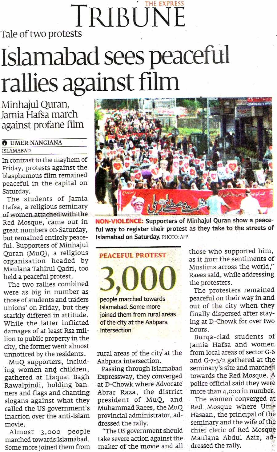 Minhaj-ul-Quran  Print Media CoverageDaily The Express Tribune Page 1
