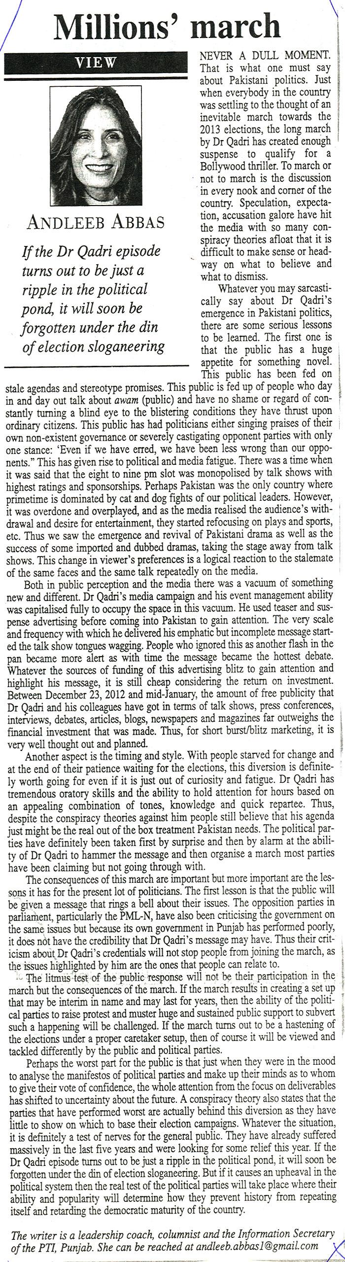 Minhaj-ul-Quran  Print Media CoverageDaily The News