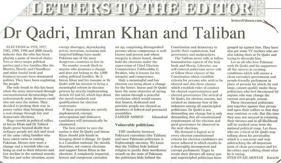 Minhaj-ul-Quran  Print Media CoverageDaily Dawn