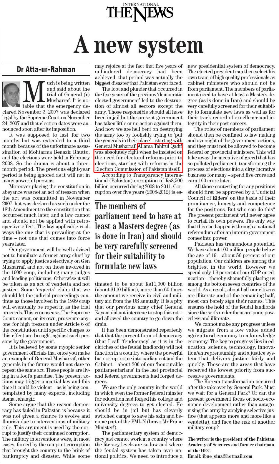 Mustafavi Student Movement Print Media Coverage Daily The News - Dr Atta ur Rahman