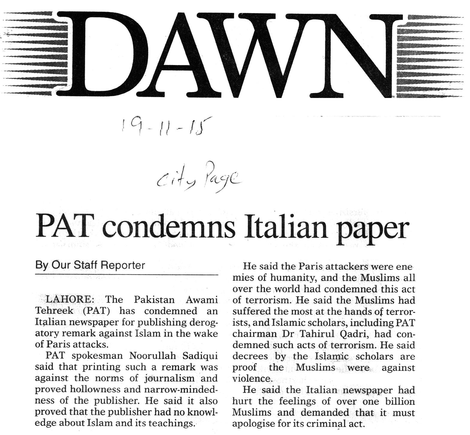 Pakistan Awami Tehreek  Print Media Coverage The Dawn City Page