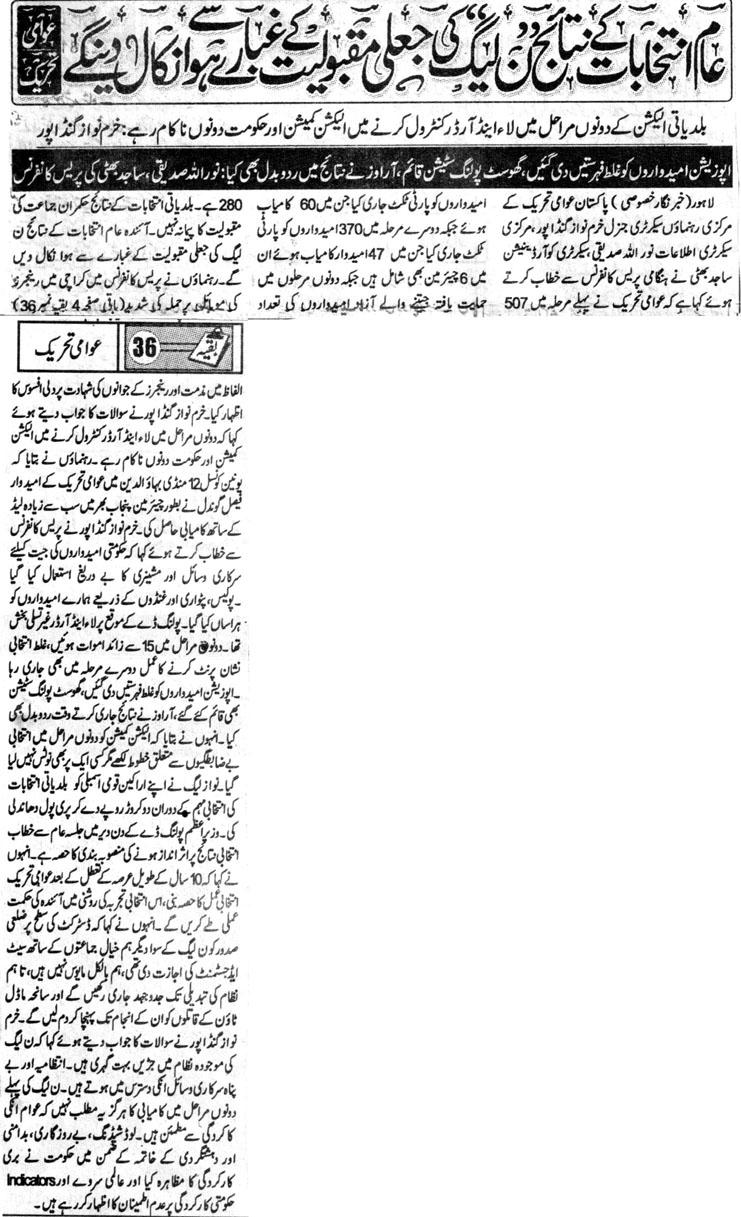 Pakistan Awami Tehreek  Print Media Coverage DAILY JINNAH BACK PAGE