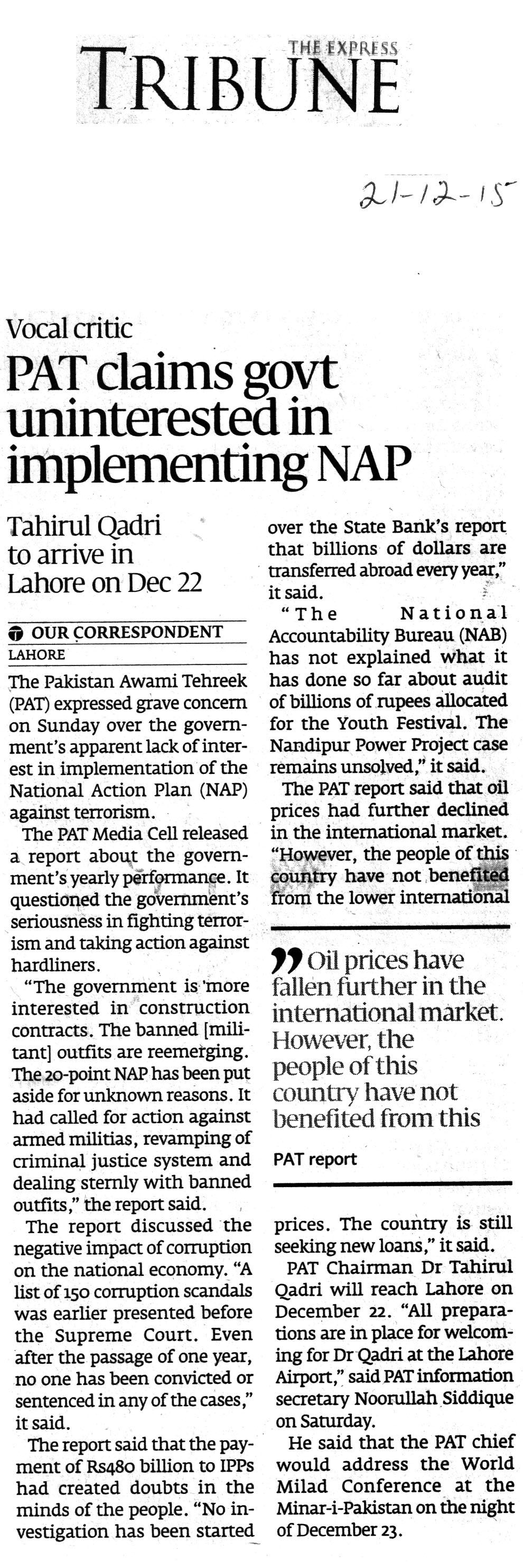 Pakistan Awami Tehreek  Print Media Coverage Daily Express Tribune City Page
