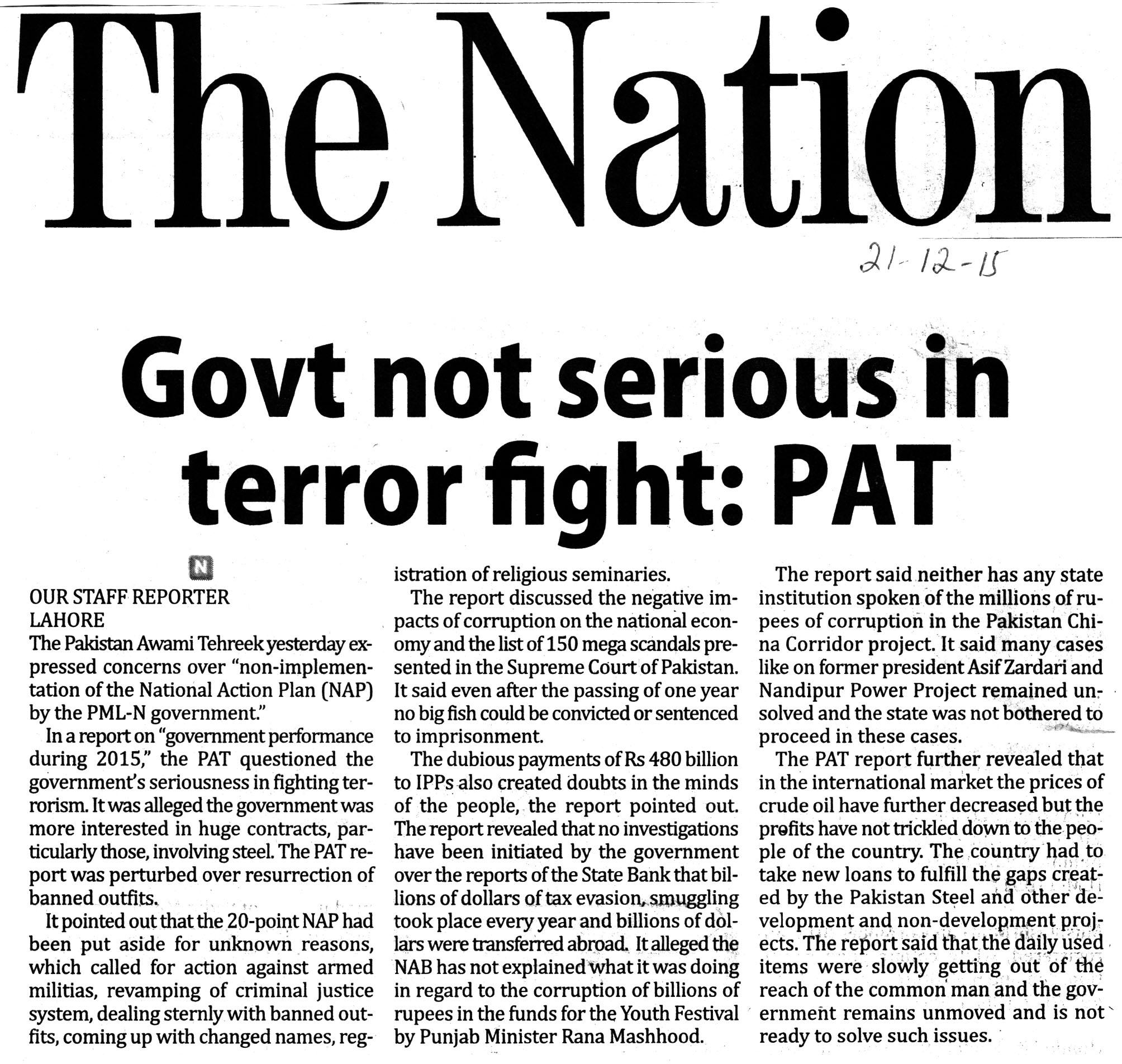 Pakistan Awami Tehreek  Print Media Coverage Daily The Nation PAge-2