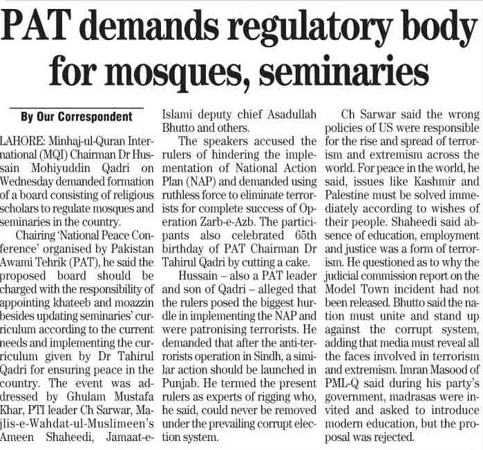 Pakistan Awami Tehreek  Print Media Coverage DAILY THE NEWS PAGE 4