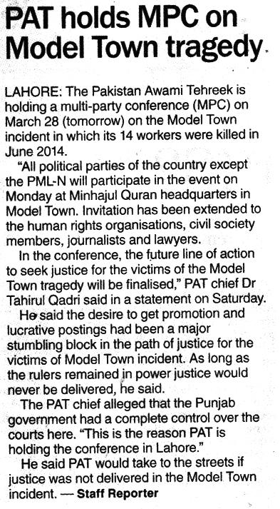 Pakistan Awami Tehreek  Print Media Coverage DAWN CITY PAGE