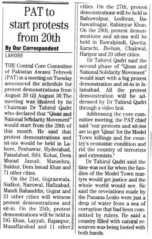 Pakistan Awami Tehreek  Print Media Coverage DAILY THE NEWS PAGE 3