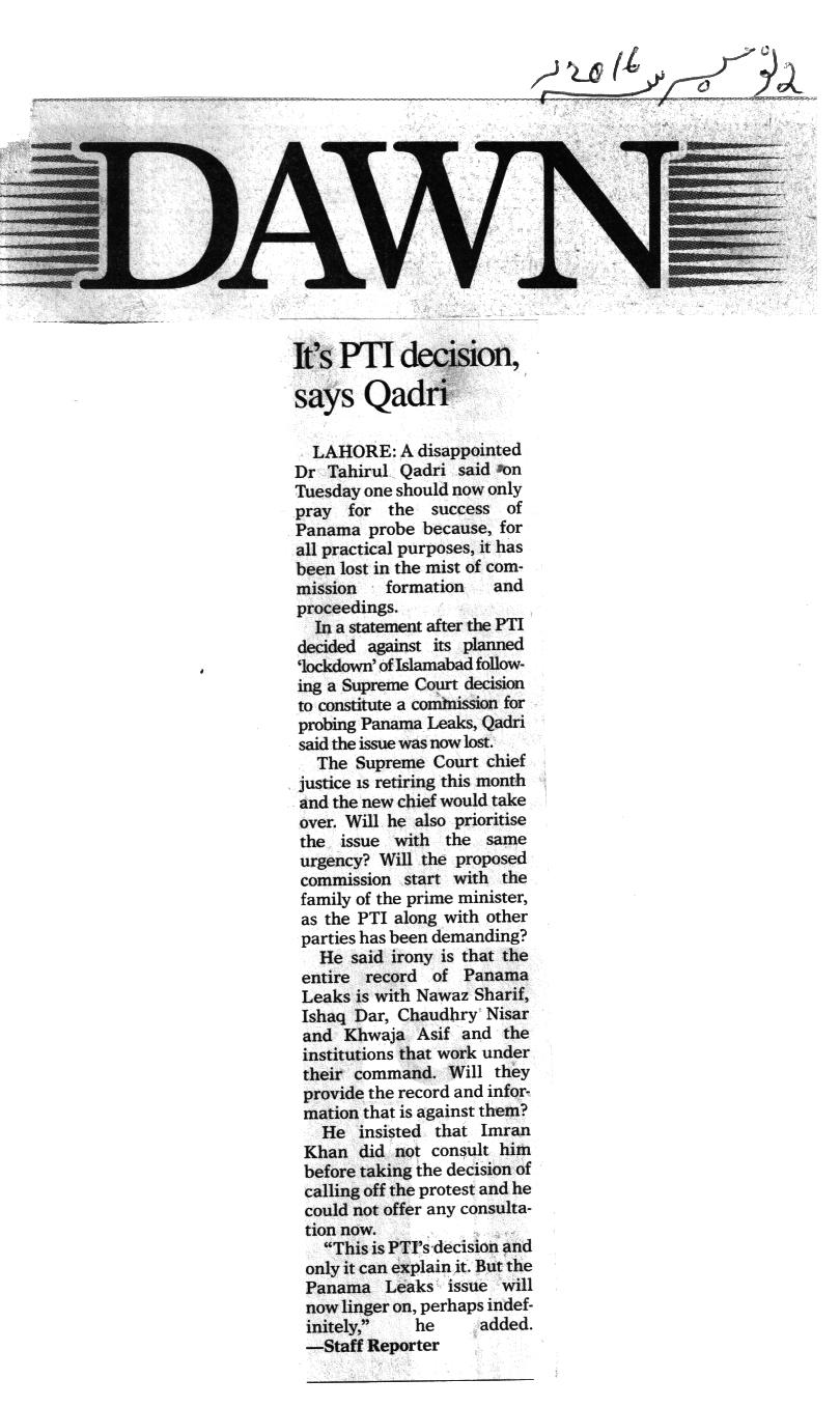 Pakistan Awami Tehreek  Print Media Coverage Dawn