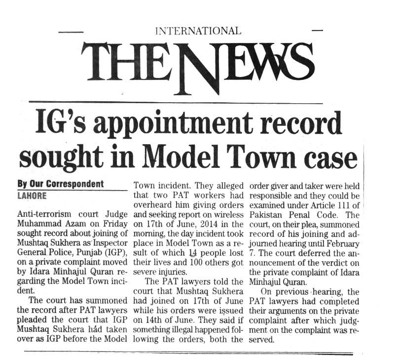 Pakistan Awami Tehreek  Print Media Coverage Daily The News