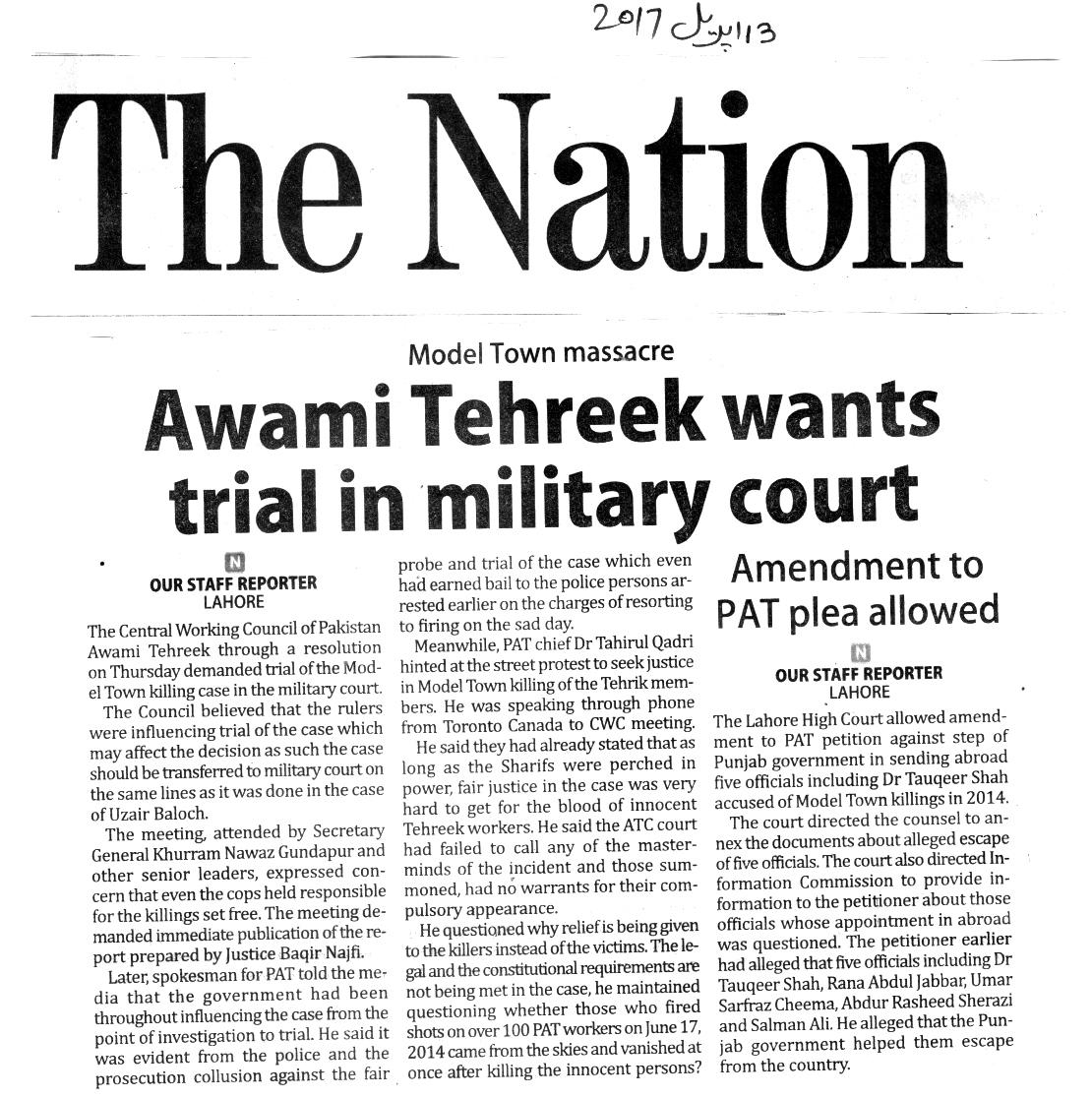 Pakistan Awami Tehreek  Print Media Coverage DAILY NATION PAGE 3