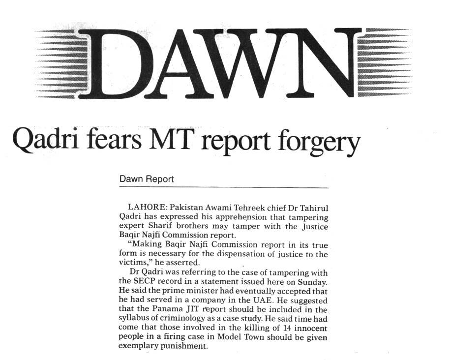 Pakistan Awami Tehreek  Print Media Coverage Daily Dawn