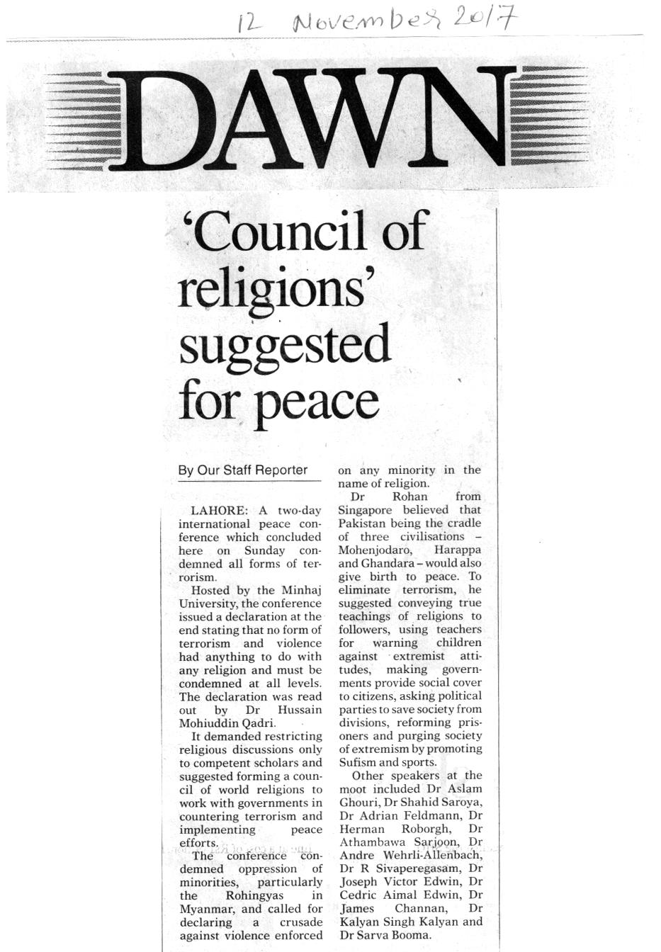 Minhaj-ul-Quran  Print Media CoverageDAILY DAWN BACK PAEG