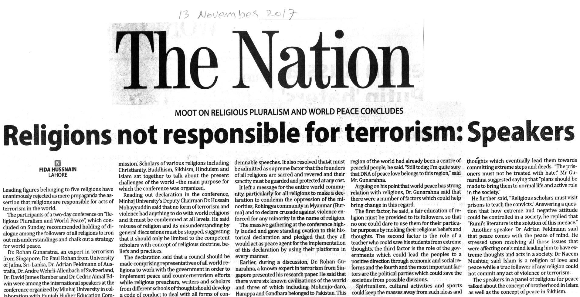 Minhaj-ul-Quran  Print Media CoverageDAILY NATION BACK PAGE