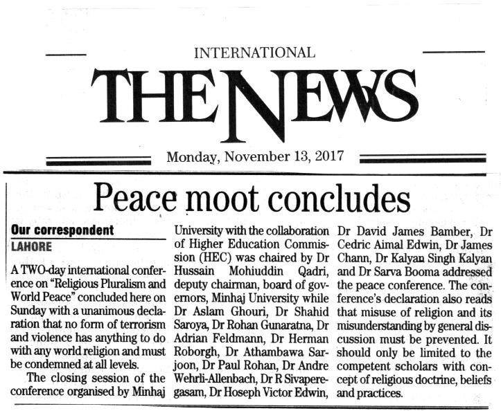 Minhaj-ul-Quran  Print Media CoverageDAILY THE NEWS BACK PAGE