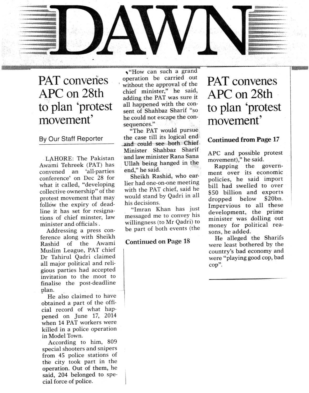 Pakistan Awami Tehreek  Print Media Coverage DAILY DAWN FRONT PAGE