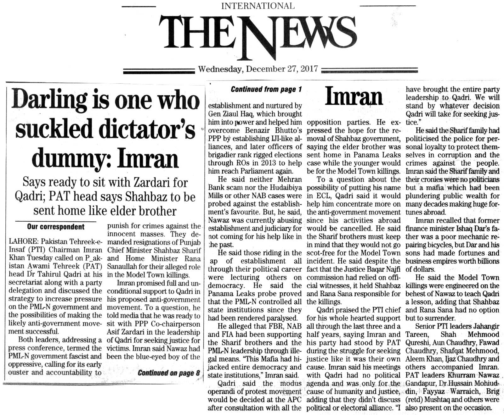 Minhaj-ul-Quran  Print Media CoverageDAILY THE NEWS FRONT PAGE
