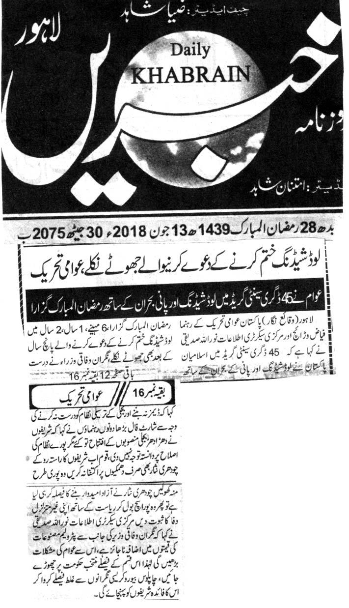 Minhaj-ul-Quran  Print Media CoverageDAILY KHABRAIN CITY PAGE