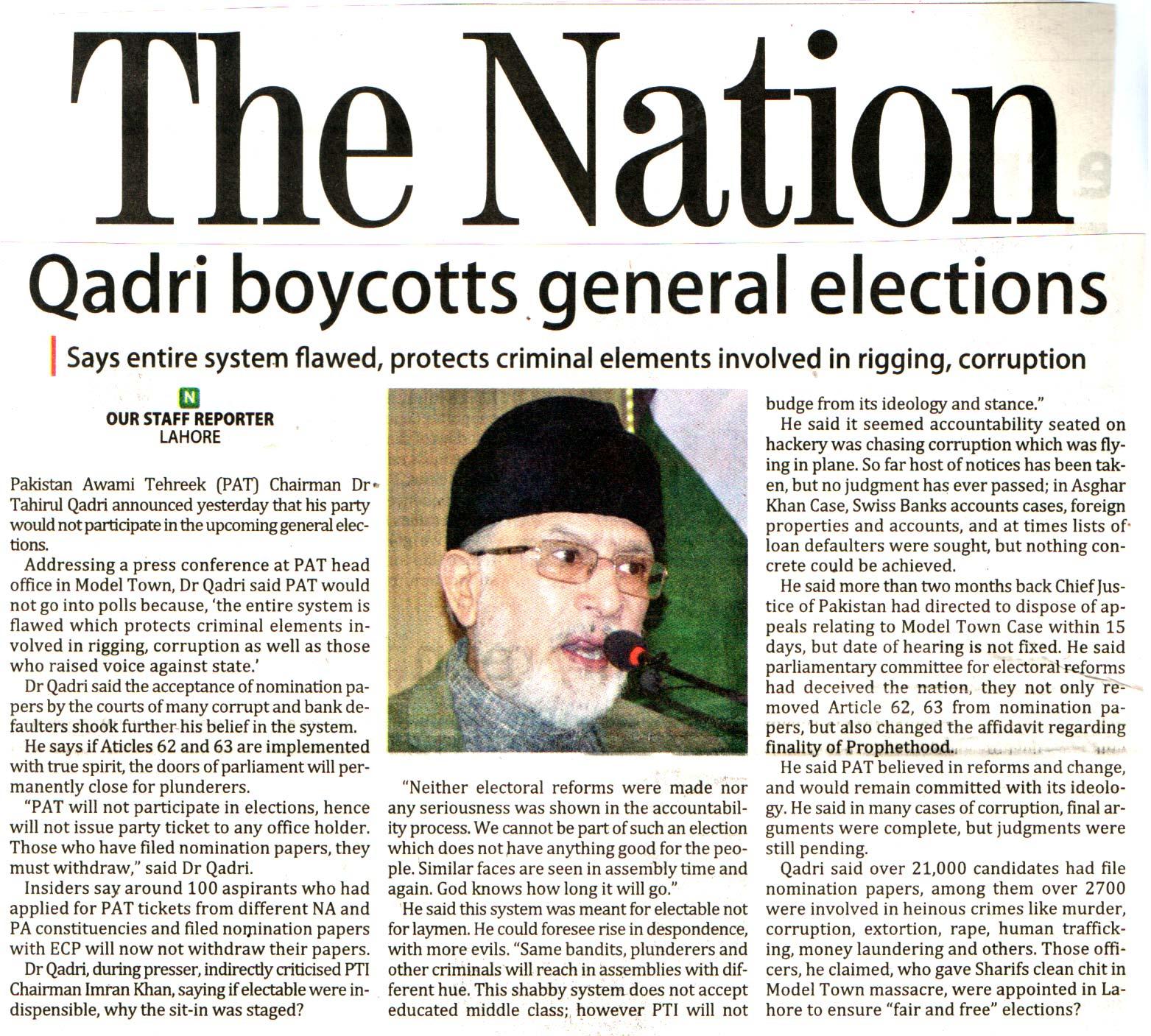 Minhaj-ul-Quran  Print Media Coverage DAILY THE NATION BACK PAGE