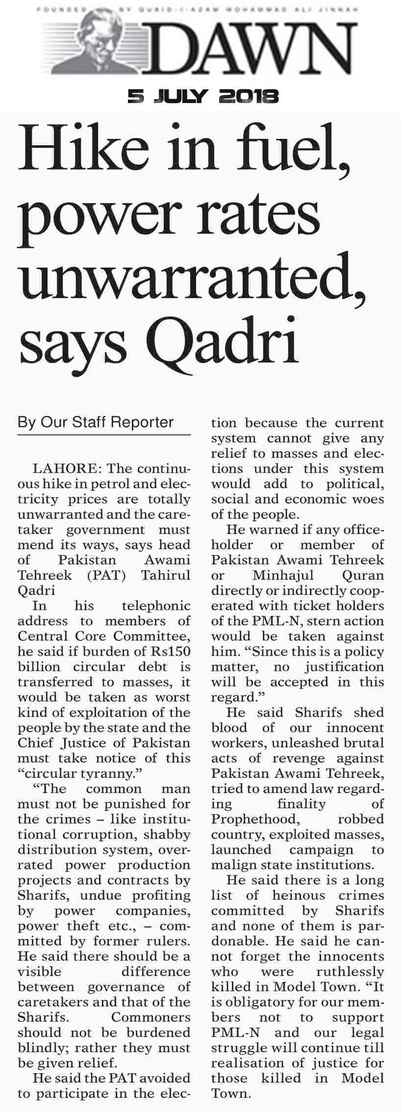 Pakistan Awami Tehreek  Print Media Coverage DAILY DAWN PAGE 2